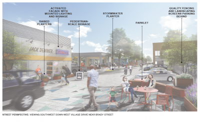 "This rendering looking down West Village Drive shows the long-term potential for this ""living street""."