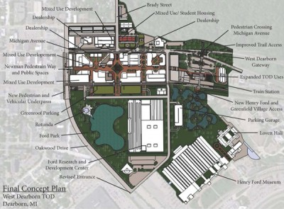 The Dearborn PlacePlan included a look at how the new train station could support new mixed-use development.