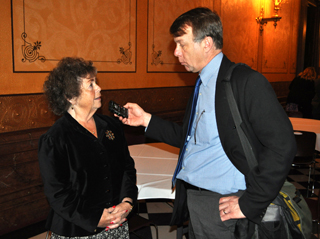 Utica Mayor Jacqueline Noonan does a media interview with Rick Pluta of Michigan Public Radio.