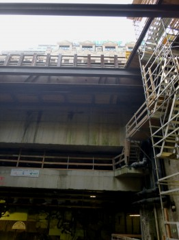 top of photo--the street level above the subway construction.