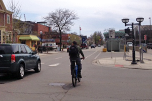 Drivers and riders share the road in Ann Arbor.