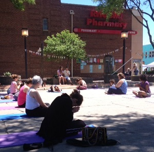 A Berkley yoga studio brought a class to the space to practice outdoors.