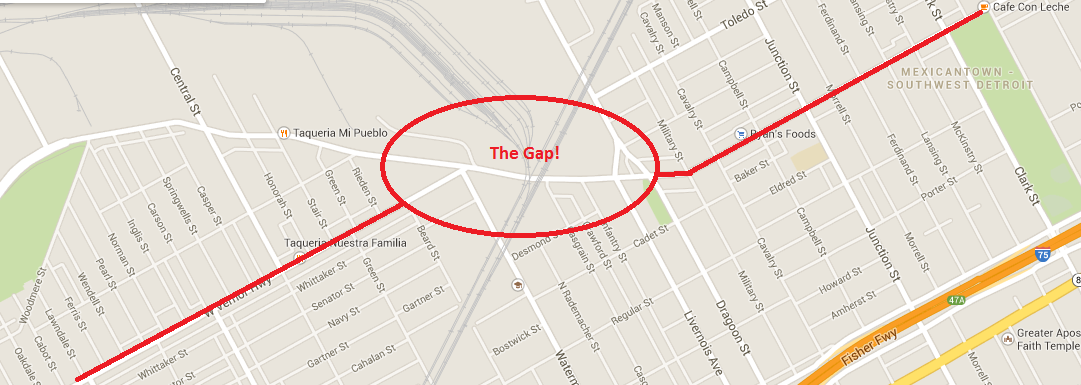"A Google map of Vernor with ""the gap"" highlighted."