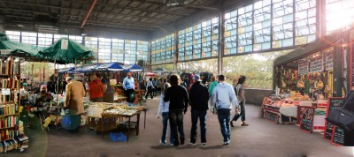 An imagined market in an industrial building near the Livernois and Vernor intersection.