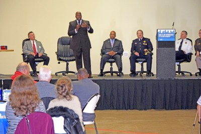Law enforcement officials participate in a panel discussion at the Race and Law Enforcement in the Urban Community forum in Saginaw November 14, 2015.