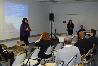 Pontiac Mayor Deirdre Waterman and Planner Galina Tachieva speak at the CNU Legacy Project Charrette in Pontiac Friday, April 15.