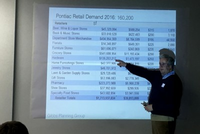 Bob Gibbs discusses the economic development potential in Pontiac during the CNU Legacy Project Charrette Friday, April 15.