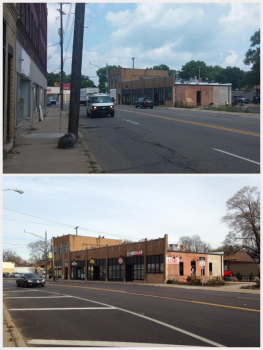 Moving the stripes on Portage Street keeps vehicles further from pedestrians, as well as adding a left turn lane for safe turning. Both support access to the businesses in the area.