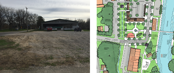 The site plan in it's current form is on the left, and the Vassar Vision concept plan is on the right.
