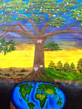 An Ypsilanti mural by teens from the Washtenaw Interfaith Council on Immigrant Rights  illustrates their experiences and struggles. (Photo by A2 Awesome Foundation)